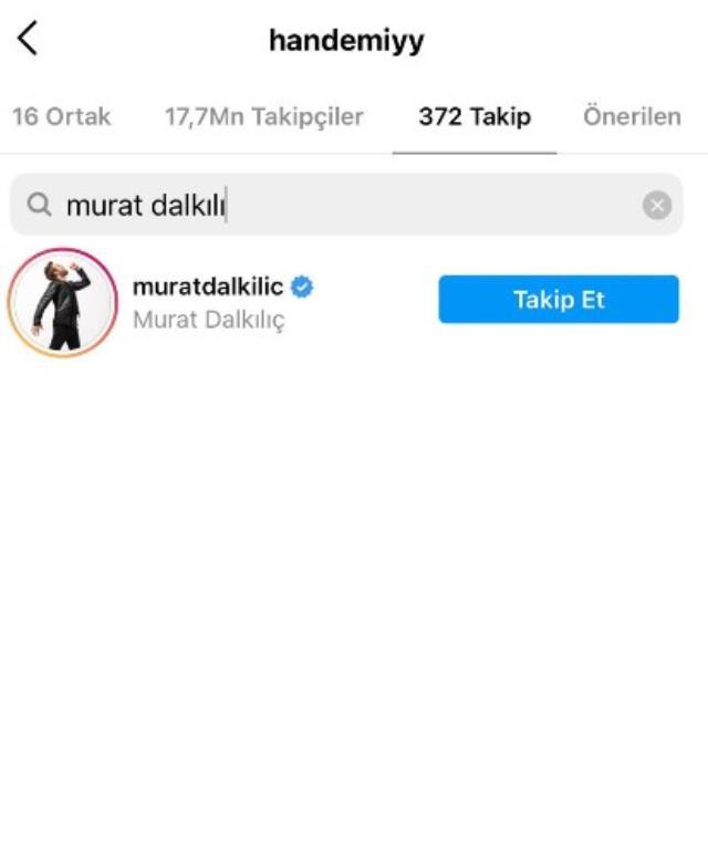 Murat Dalkılıç, eski sevgilisi Hande Eeçel'i Instagram'dan takibi bıraktı