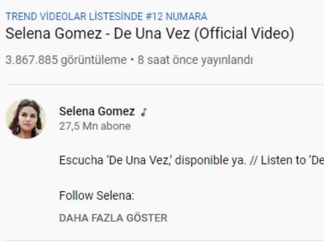 Selena Gomez'in yeni şarkısı Türkiye gündeminde birinci sıraya oturdu