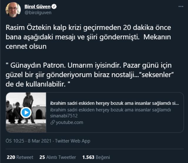 Rasim Öztekin'in kalp krizi geçirmeden 20 dakika önce yapımcı Birol Güven'e mesaj attığı ortaya çıktı