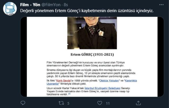 Türk sinemasına iz bırakan usta yönetmen Ertem Göreç yaşamını yitirdi